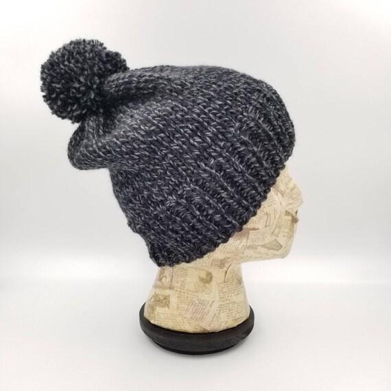 Pom Pom Beanie Hand Knit Hat Black Beanie Grey Beanie  748d10f0ae0