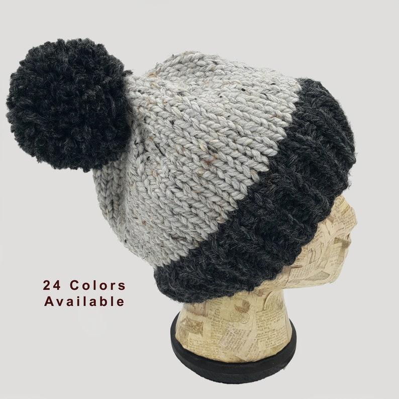 9b3ac5da59e43 Color Block Beanie Pom Pom Beanie Winter Hat Hat for Women