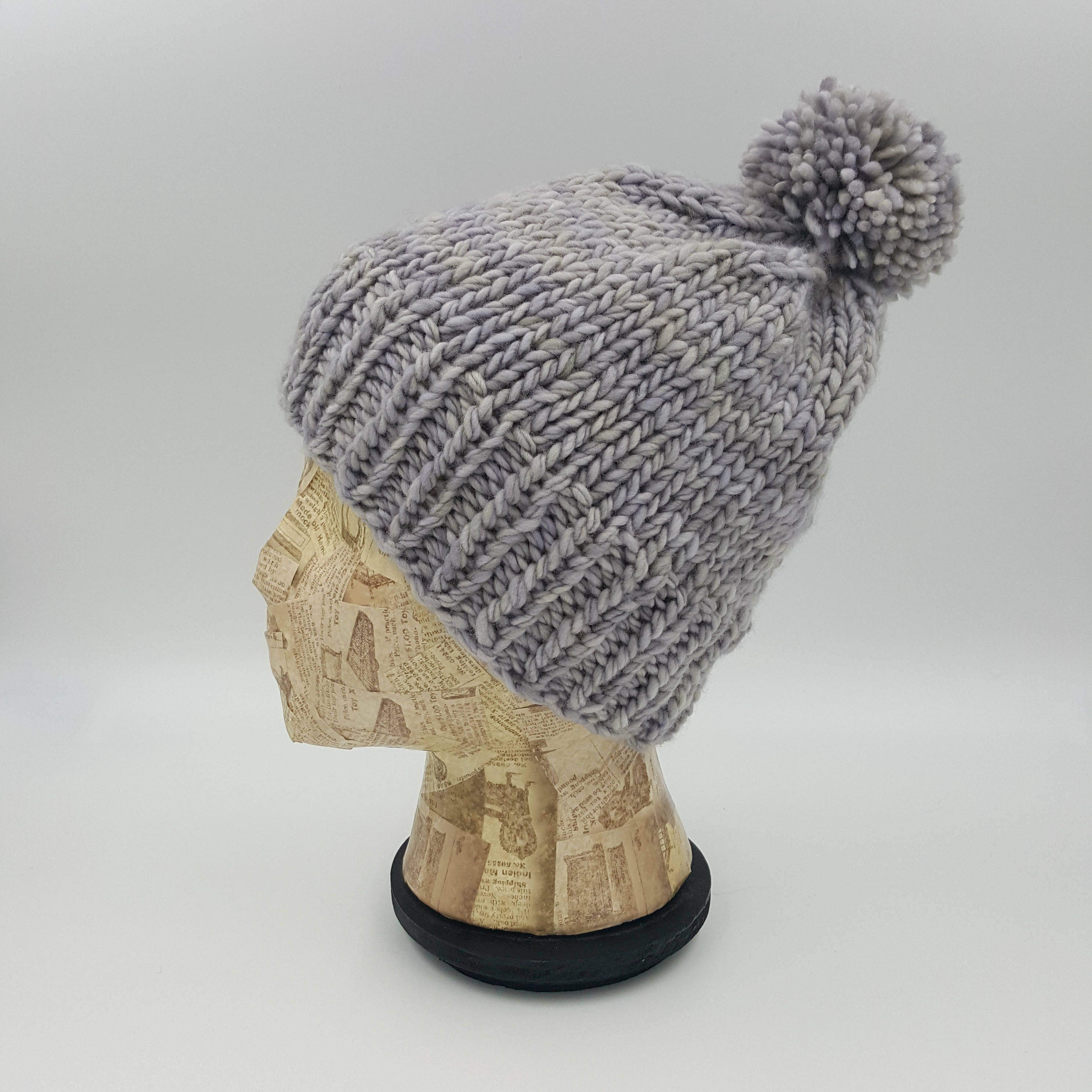 9718efef0 Fitted Beanie, Pom Pom Beanie, Hand Knit Hat, Light Grey Beanie, Winter  Hat, Hat for Women, Wool Hat, Merino Wool Beanie, Gray Beanie