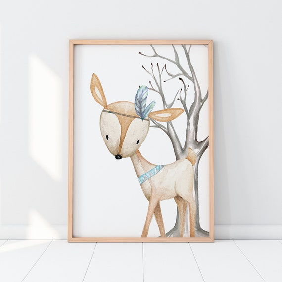 Kids Children/'s Bedroom Woodland Animal Stag Wall Art Picture Cartoon A4 Print