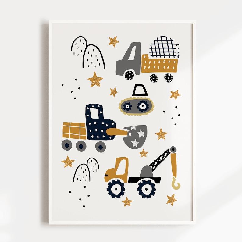 Digger Cement Mixer Kids Wall Art Crane Kids Wall Art Nursery Print Boys Room Decor New Baby Gift Construction Vehicle Wall Art