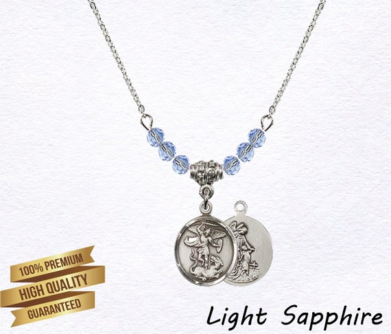 18-Inch Rhodium Plated Necklace with 4mm Garnet Birthstone Beads and Sterling Silver Guardian Angel Charm.