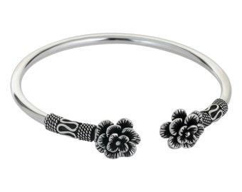 Flower Silver Bracelet, Flower Bracelet, Sterling Silver Bracelet, Women Silver Bracelet, Cuff Bracelet Silver, Black Silver Bracelet