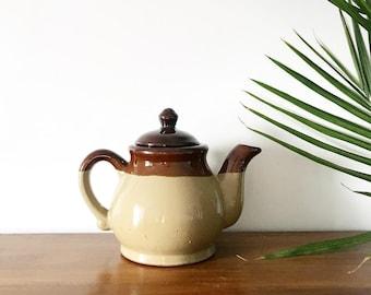 Boho Tea Pot, Ceramic Teapot Brown Teapot, Tea Kettle Vintage Pottery Teapot, Ombre Teapot Antique Teapot, Boho Kitchen Decor Tea Lover Gift