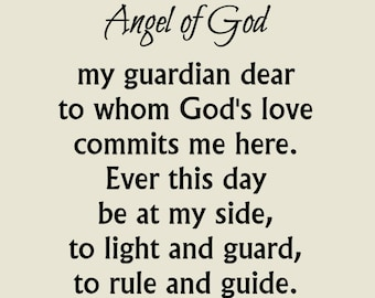 Guardian Angel Prayer Printable, Christian Print, Catholic Angel of God Wall Art, Inspirational