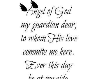 Catholic Art Printable, Guardian Angel Prayer Printable Art, Catholic Prayer, Inspirational, Digital Art Print