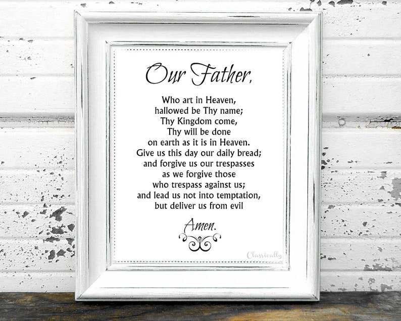 photograph about Printable Lords Prayer known as Our Dad Prayer Printable, The Lords Prayer, 5x7 8x10 Catholic Print, Prayer Print, Christian Print, White or Beige, Immediate Down load