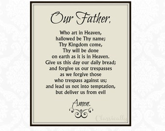 Our Father Prayer Printable, Catholic Print, Lord's Prayer, Prayer Print, Christian Print, Inspirational, Instant Download