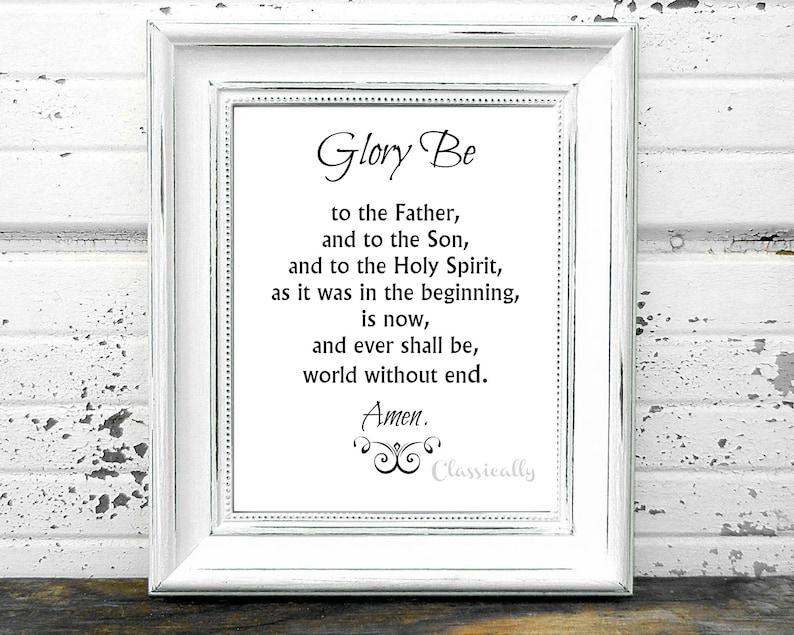 Glory Be Prayer Print 5x7 0r 8x10 Catholic Prayer Doxology ...