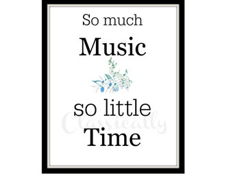 Music Print, 8 x 10 Word Art Print, Music Wall Art, Typography, Musician Print, Musical Notes, Black White Blue