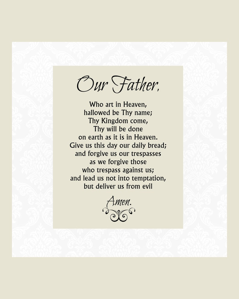 image about Printable Our Father Prayer identified as Our Dad Prayer Printable, The Lords Prayer, 5x7 8x10 Catholic Print, Prayer Print, Christian Print, White or Beige, Prompt Obtain