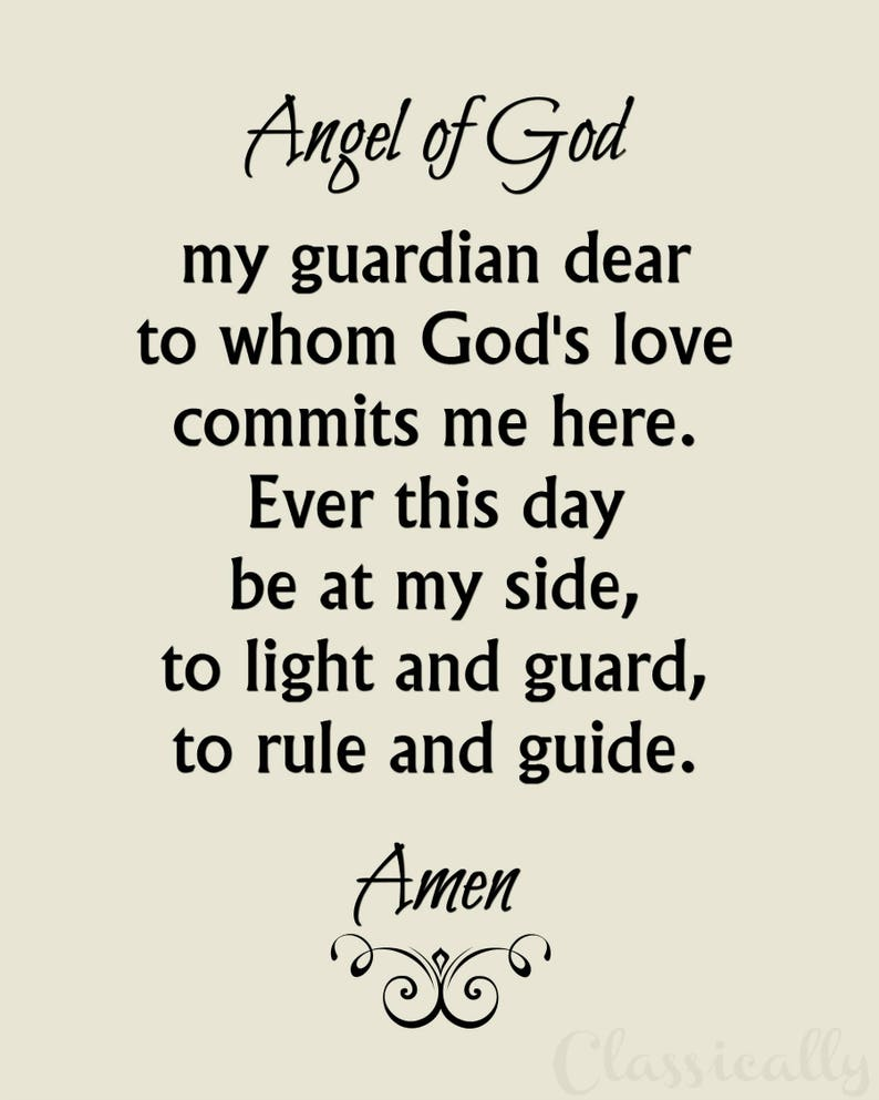 picture relating to Guardian Angel Prayer Printable titled Dad or mum Angel Prayer Printable, 5x7 8x10 Christian Print, Catholic Angel of God Wall Artwork, Inspirational