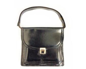 Vintage Black Accordion, Leather Satchel with Adjustable Strap