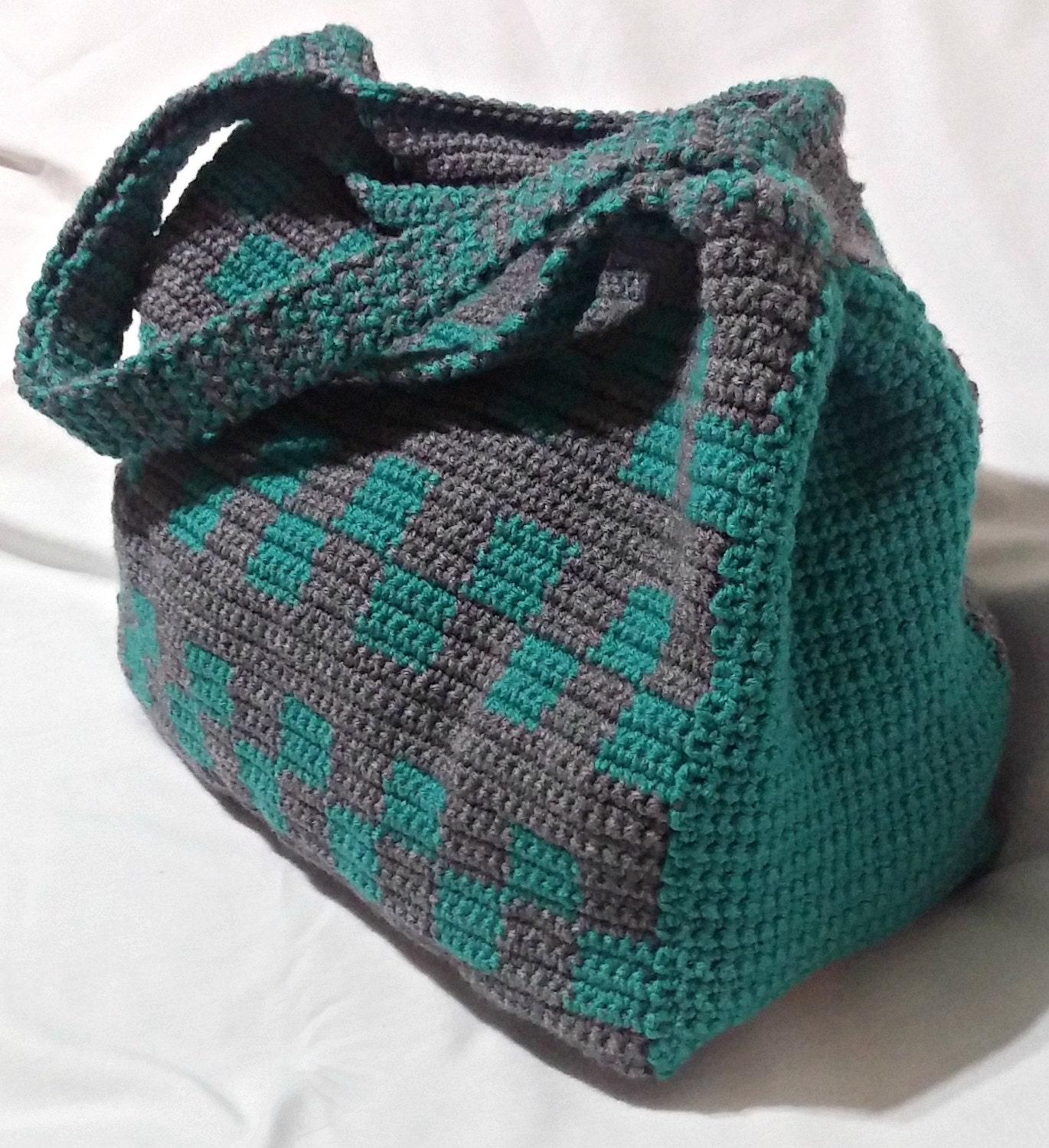 Crochet Tote Bag Teal And Grey Tote Large Tote Checkerboard Etsy