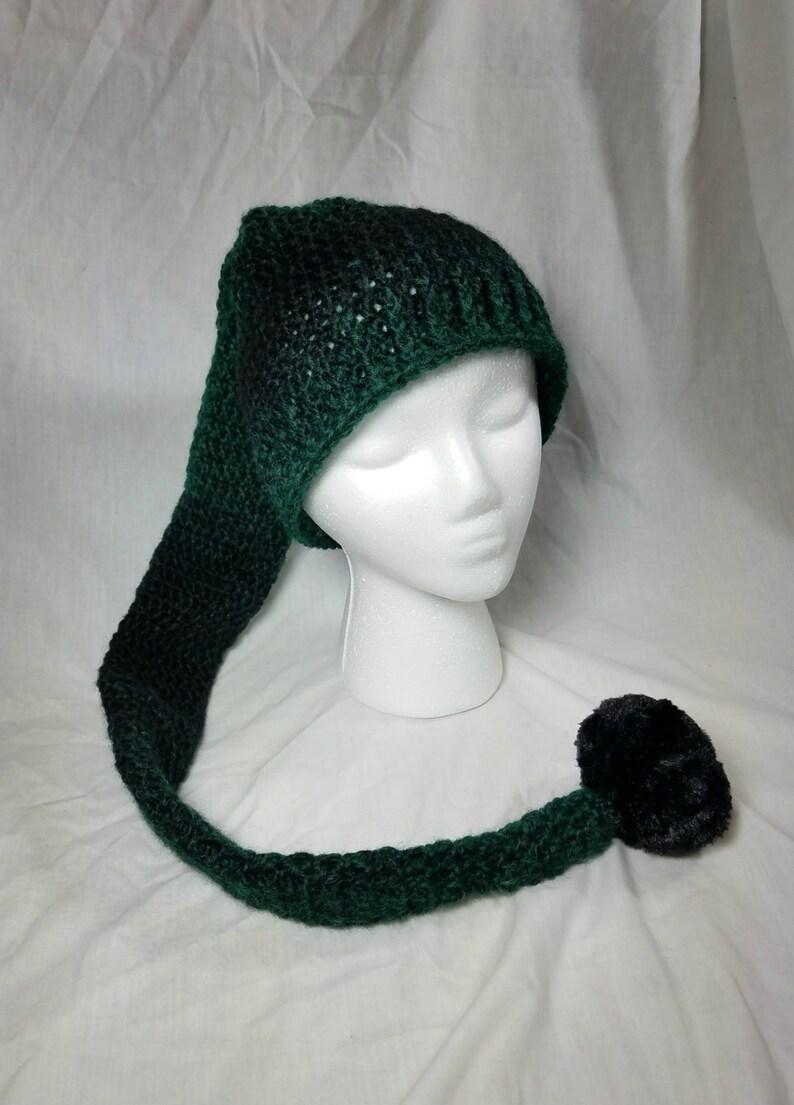 Crochet Pixie Long Tail Winter Hat Wool Stocking Cap Winter  bf7b2c8f723