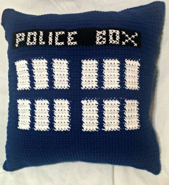 Tardis Throw Pillow Pattern Doctor Who Pillow Crochet Etsy