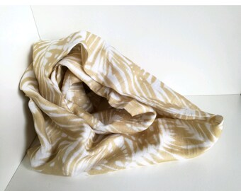Ring scarf, Infinity scarf for women in pure white linen with mustard yellow leaves.