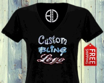 Custom Personalized Bling Logo shirt tank top Sequins Logo Glitter made in Usa (fast shipping)