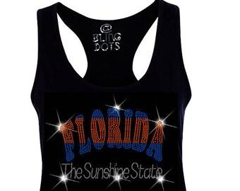 Florida bling Tank Top Racerback Shirt glitter Sunshine state