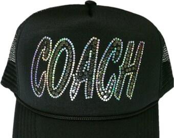 e0c98bd5 Women's Headcoach Instructor Sequins Bling Cap sparkly glitter Hat