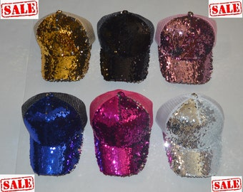 44f7404df4a49 Reversible Sequins Cap Flip 2 sided Mermaid Holographic Messy Bun  Adjustable Baseball Sale Ship Next day