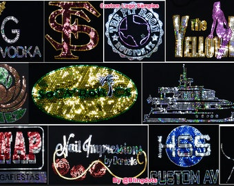 Custom Bling Transfer Decal Iron On Personalized Sequins Hot fix Company Team custom bling Logo ( fast shipping)