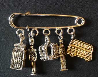 various designs London charm pin brooch badge UK queen bus big ben soldier
