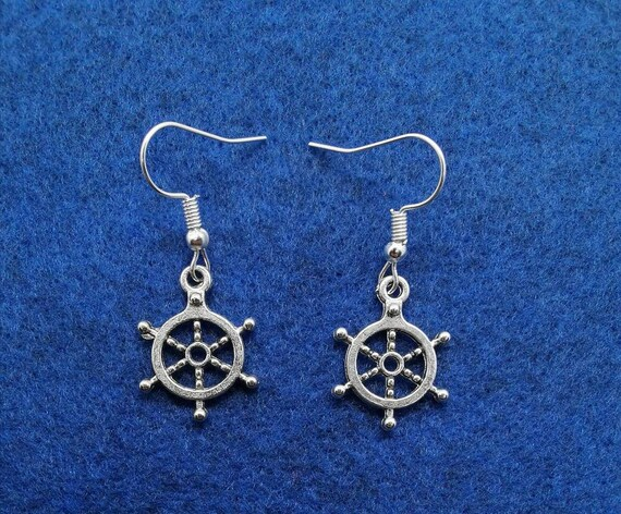 3cm Size Charms Teen Unisex Gifts Nautical Buoy Enamel Blue Silver SHIP STEERING WHEEL Earrings Christmas Day Fish Hook Dangle Earring