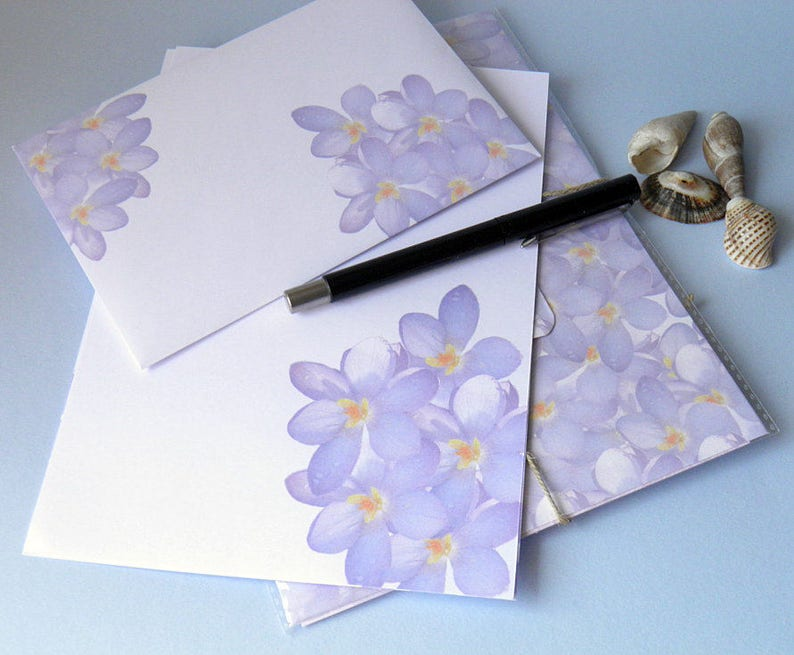 Handmade Envelopes Gift Set For Woman Letter Paper Stationery Set Recycled Stationery Personalised Purple Flower Letter writing Set