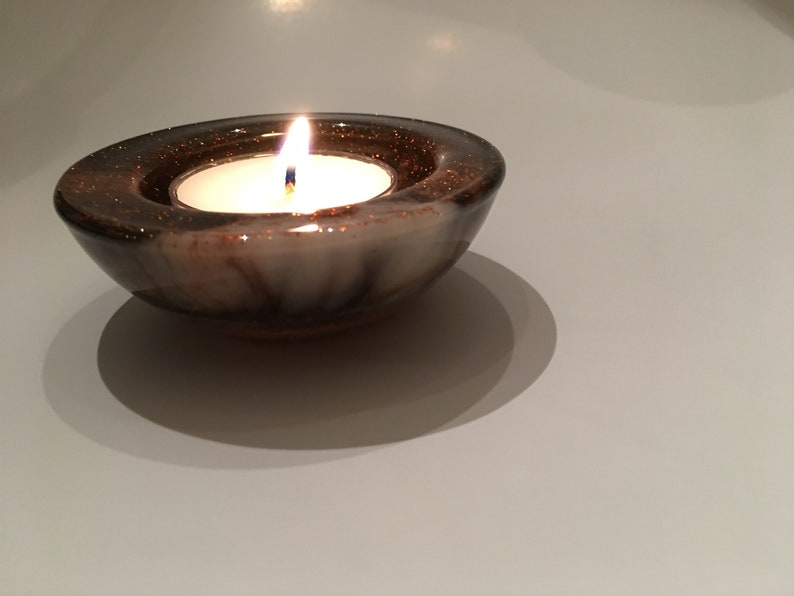 Small brown and cream ring or votive dish with burnt orange glitter and gold shimmer