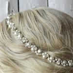 Wedding Headband, Pearl and crystal bridal hairpiece,Rhinestone wedding  headpiece, Swarovski pearl headpiece, bridal headband