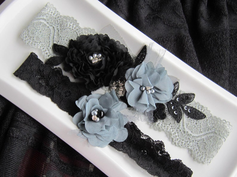 Bridal Garter Set wedding accessories Grey and Black Wedding Lace Garter Set Garter