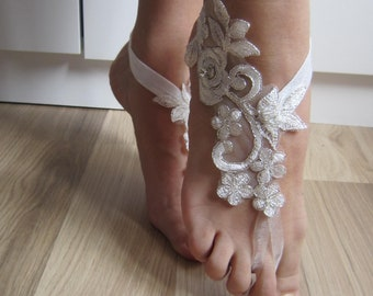 Ivory of White Flower Barefoot Sandals,  Wedding lace Shoes, Beach wedding, lace barefoot sandals Bridesmaid sandals, wedding barefoot
