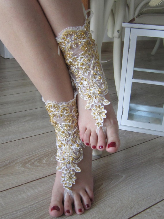 Wedding and sandals Barefoot bridal wedding sandals Lace rhinestones anklet Gold New summer beaded style Gold pearl and Sxtfqq