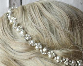 Bridal Headband, Pearl bridal headband, Rhinestone wedding headband, pearl for headband, bridal headband,pearl bridal hairband