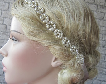 Wedding Pearl And Rhinestones Headband, wedding hairband,Pearl headband, rhinestones headband, bridal accessories