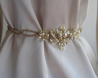 Bridal Belt Sash, Wedding sash belt, Gold rhinestones and Ivory  Belt Sashes, Wedding Accessories
