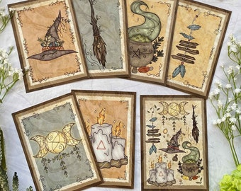 Witchy Vibes Postcards Witch Art   A6 Witch Art print   Postcard Set   Witchy Stuff   Broom   Triple Moon  Cauldron Pagan Art   Witch Home