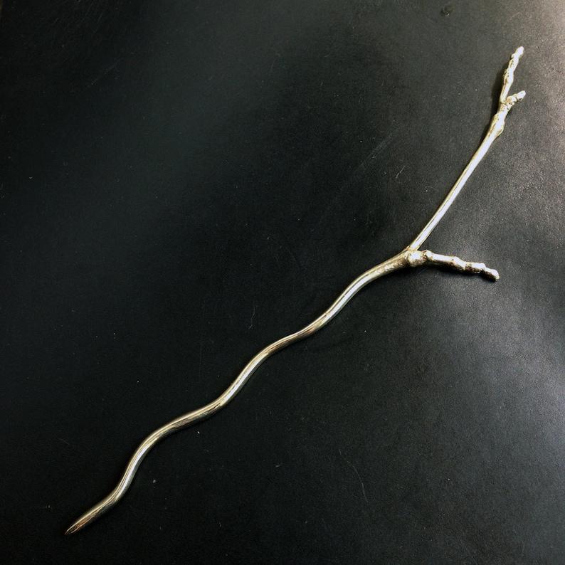 Twig Shawl Stick white brass knitwear crochetwear jewelry image 0