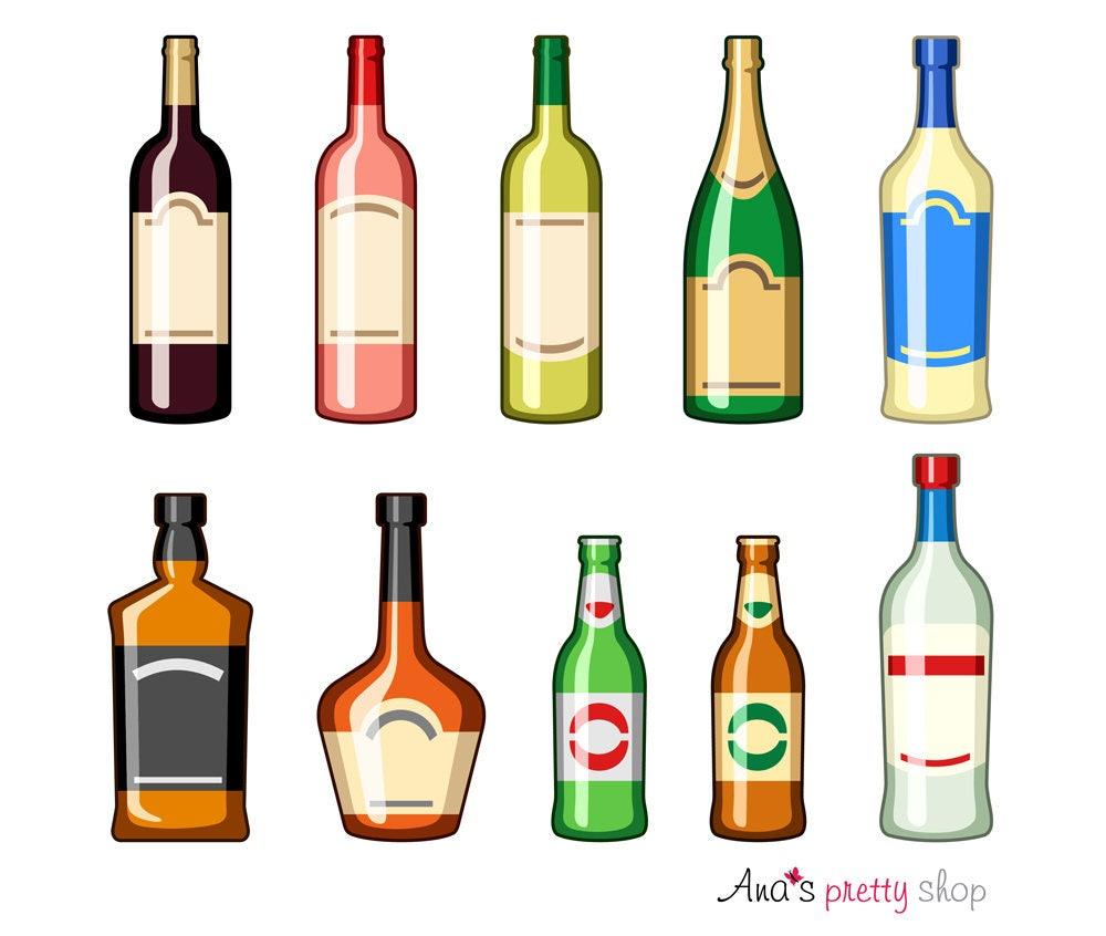 Alkohol Flaschen Clipart Getränke Flasche Wein Champagner   Etsy