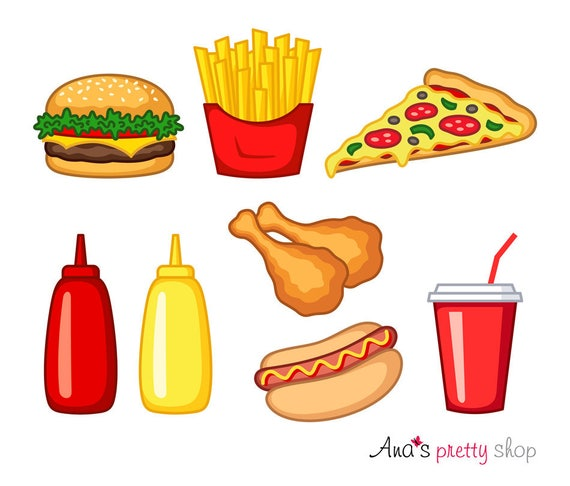 Fast Food Clipart Hamburger Clipart French Fries Pizza Hot Etsy