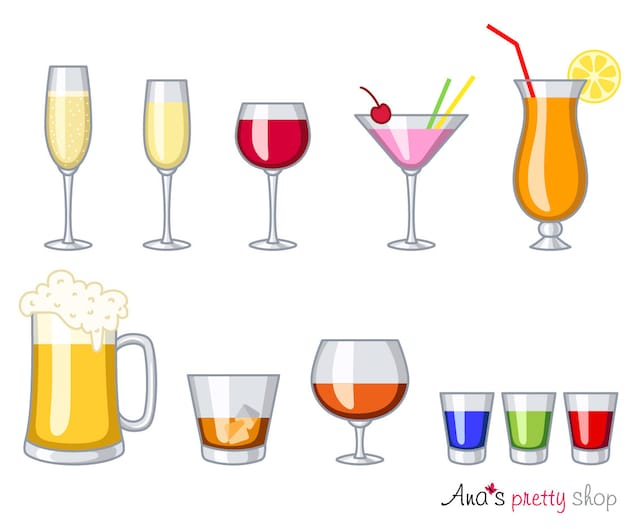 Alkohol Gläser Clipart Getränke Glas Wein Champagner | Etsy