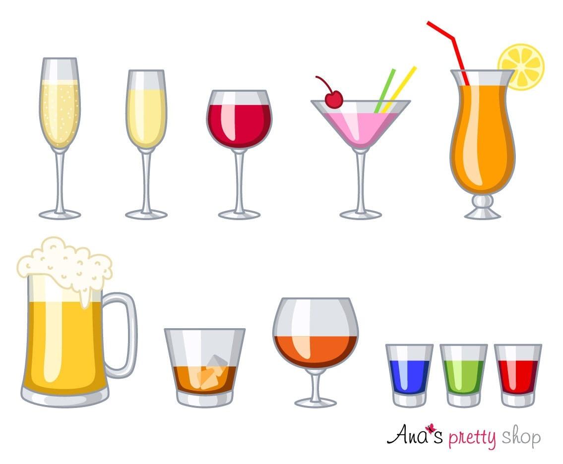 Alkohol Gläser Clipart Getränke Glas Wein Champagner   Etsy