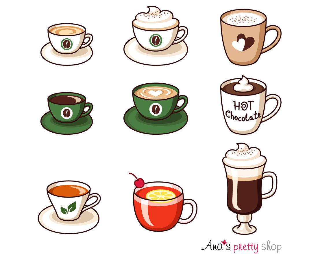 Heiße Getränke Clipart Tassen Clipart Espresso Kaffee   Etsy