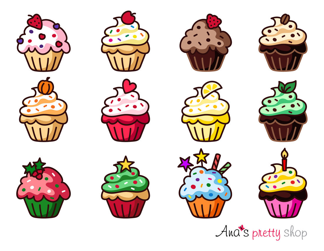 cupcake clipart vector graphic muffin traditional etsy