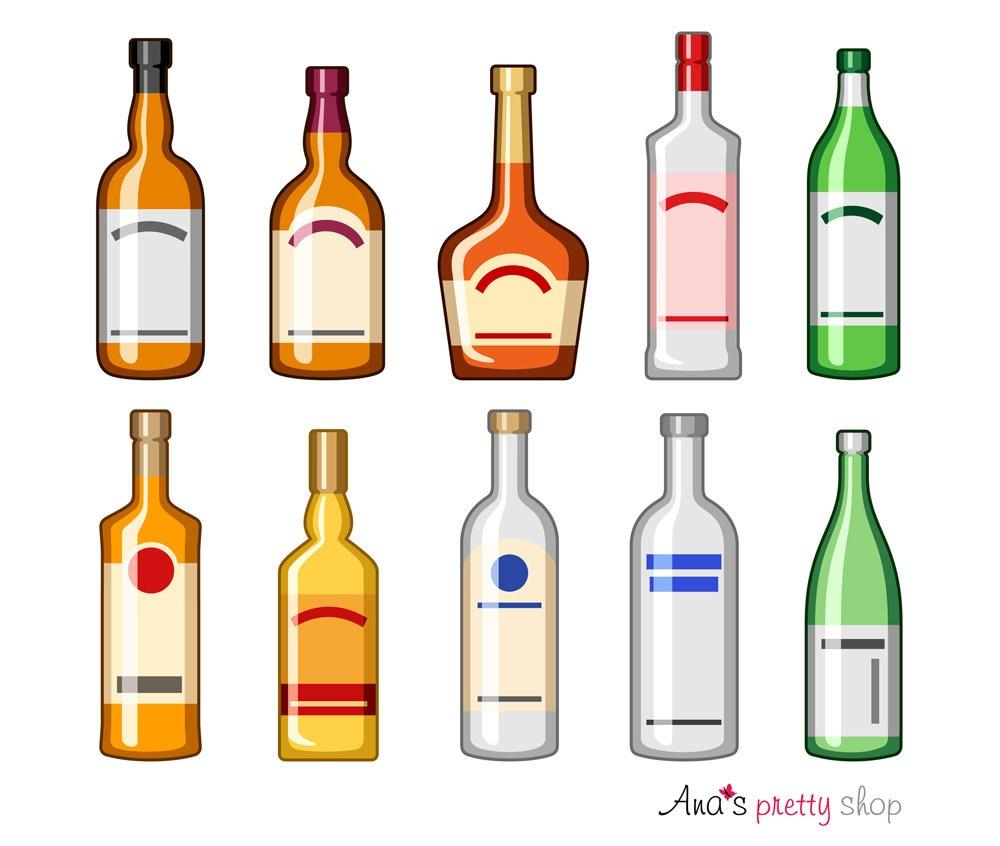 Alkohol Flaschen Clipart Getränke Bourbon-Flasche Schnaps   Etsy