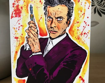Doctor Who. 12th Doctor. Inky Style Greeting Card. A6. PRINT
