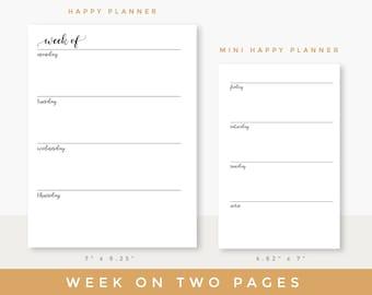 Weekly planner printable | Week on two pages insert | Weekly schedule printable for Happy planner or Mini Happy planner inserts printable