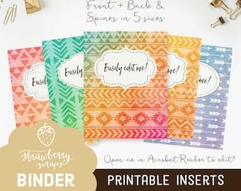 Aztec binder covers, 5x set Covers + Spines, Binder inserts, College binder printable, Teacher binder, School binder, Watercolor binder