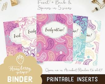 Paisley binder covers, 5x set Covers + Spines, Binder inserts, College binder printable, Teacher binder, School binder, Cute binder, Purple